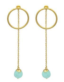 Aqua Chalcedoney  Gold Plated Over Brass Drop Earrings Jewelry