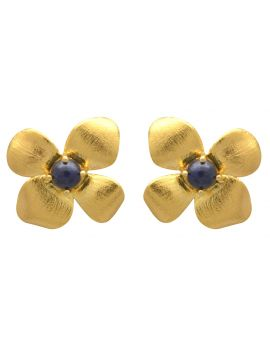 Lapis Gold Plated Over Brass Stud Earrings Jewelry