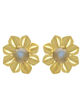 Labradorite Gold Plated Over Brass Studs Earrings Jewelry