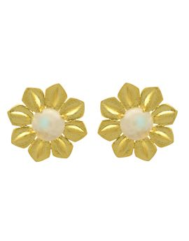 Rainbow Moonstone Gold Plated Over Brass Studs Earrings Jewelry