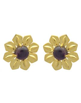 Natural Purple Amethyst Gold Plated Over  Brass Studs Earrings Jewelry