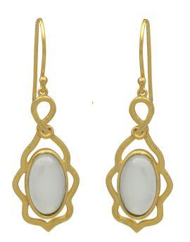Aqua Chalcedoney Gold Plated Over Brass Dangle Earrings Jewelry