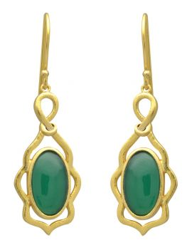 Green Onyx Gold Plated Over Brass Dangle Earrings Jewelry
