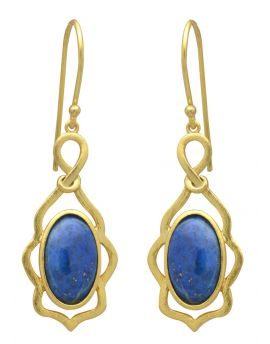 Lapis Gold Plated Over Brass Dangle Earrings Jewelry