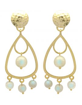 Rainbow Moonstone Gold Plated Over Brass Drop Style Earrings Jewelry