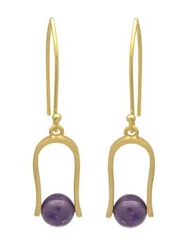 Natural Purple Amethyst Gold Plated Over Brass Dangle Earrings Jewelry