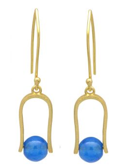 Blue Chalcedoney  Gold Plated Over Brass Dangle Earrings Jewelry