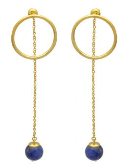 Lapis Gold Plated Over Brass Earrings Drop Jewelry