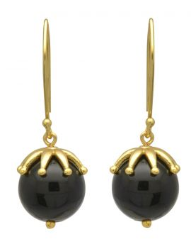 Black Onyx Gold Plated Over Bras Dangle Earrings Jewelry