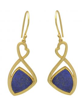 Lapis Gold Plated Over Brass Drop Earrings Jewelry