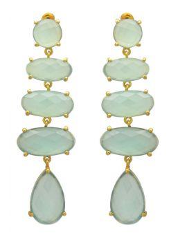 Aqua Chalcedoney Gold Plated Over BrassDrop  Earrings Jewelry