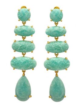 Amazonite Gold Plated Over Brass Drop Earrings Jewelry