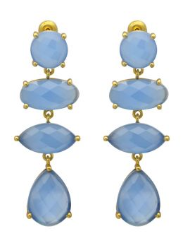 Blue Chalcedoney Gold Plated Over Brass Drop Earrings Jewelry