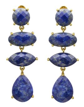 Lapis Gold Plated Over BrassDrop Earrings Jewelry