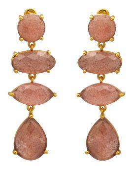 Strawbary Quartz Gold Plated Over Brass Drop Earrings Jewelry