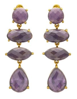 Amethyst Gold Plated Over Brass Drop Earrings Jewelry