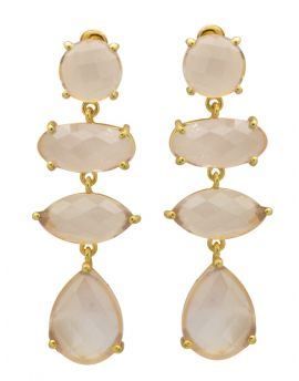Rose Quartz Gold Plated Over Brass Drop Earrings Jewelry