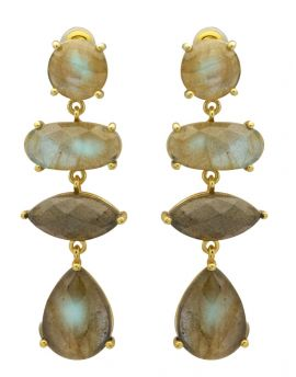 Labradorite Gold Plated Over Brass Drop Earrings Jewelry