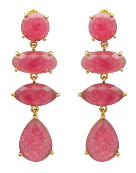 Pink Aventurine Gold Plated Over Brass Drop Earrings Jewelry