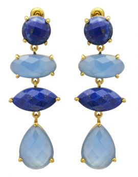 Blue Onyx , Lapis Gold Plated Over Brass Drop Earrings Jewelry