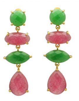 Green Aventurine, Pink Aventurine Gold Plated Over Brass Drop Earrings Jewelry