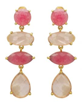Pink Aventurine , Rose Quartz Gold Plated Over Brass Drop Earrings Jewelry