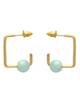 Aqua Chalcedoney Gold Plated Over Brass Studs Earrings Jewelry