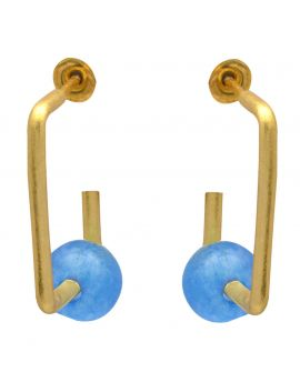 Blue Chalcedoney  Gold Plated Over Brass Studs Earrings Jewelry