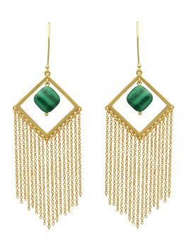 Malachite Gold Plated Over Brass Drop Earrings Jewelry