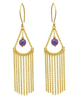 Natural Amethyst Gold Plated Over Brass Dangling Earrings Jewelry