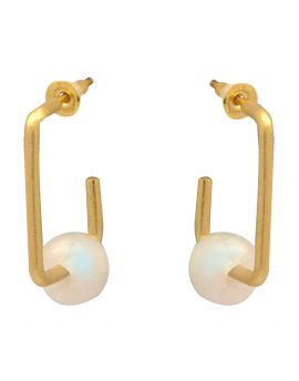 Rainbow Moonstone Gold Plated Over Brass Stud Earrings Jewelry