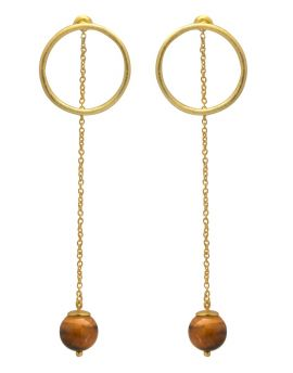 Tiger Eye Gold Plated Over Brass Drop Style Earrings Jewelry