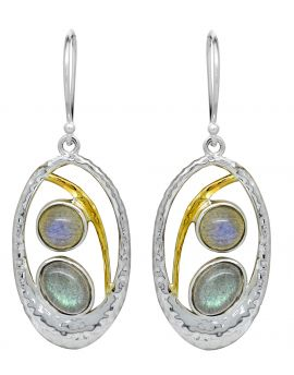 Labradorite 925 Solid Sterling Silver Brass Earrings