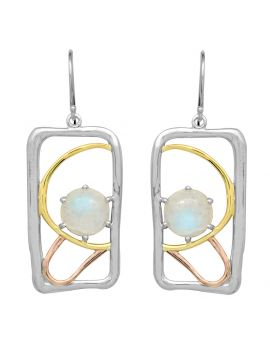 Rainbow Moonstone 925 Solid Sterling Silver Brass Earrings