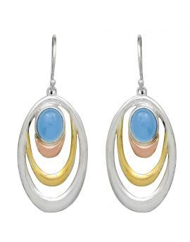 Blue Chalcedony 925 Solid Sterling Silver Brass  Earrings