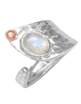Moonstone 925 Sterling Silver Brass Rings
