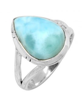 Larimar Ring Solid 925 Sterling Silver Gemstone Jewelry
