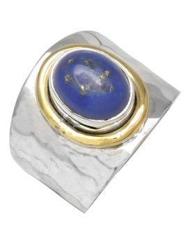 Lapis 925 Sterling Silver Brass Ring