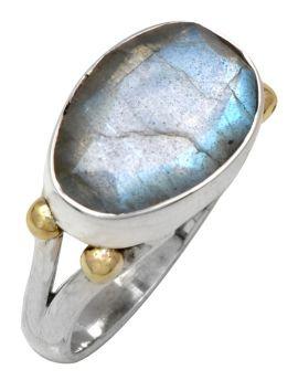 Labradorite 925 Sterling Silver Brass Ring