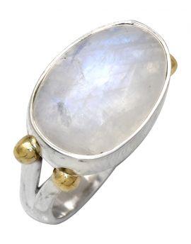 Rainbow Moonstone 925 Sterling Silver Brass Ring