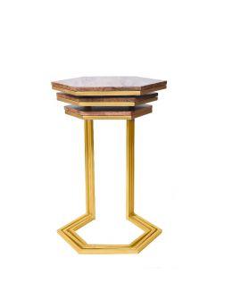 Solid Mango Wood Gold Iron Base Set of 3 Wood Top Nesting Table