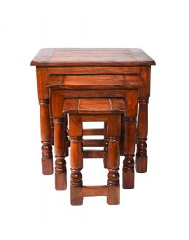 Solid Acacia Wood Set of 3 Home Decor Nesting Table