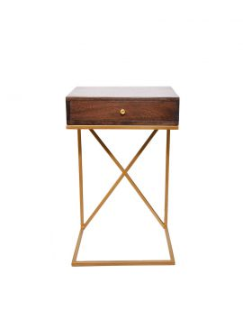 Solid Acacia Wood Iron Base Side End Table with 1 Drawer