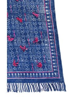 Cotton Dhurrie Rug with Embroidery Y-RU-10005