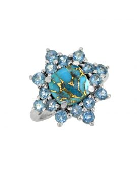 5.40 Ct. Blue Copper Turquoise 925 Sterling Silver Ring