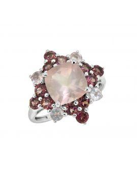 5.40 Cts. Rose Quartz Rhodolite Sterling Silver Ring