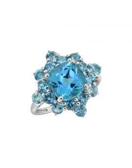 5.40 Cts. Swiss Blue Topaz 925 Sterling Silver Gemstone Ring