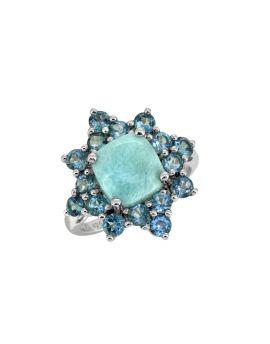 5.40 Cts. Larimar London Blue Topaz Sterling Silver Cluster Ring