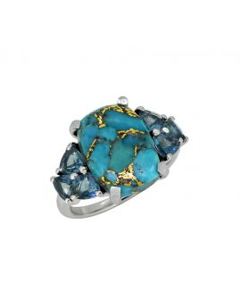 7.30 Ct. Blue Turquoise Solid 925 Sterling Silver Ring
