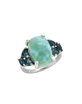 7.30 Cts. Natural Larimar Solid 925 Sterling Silver Ring